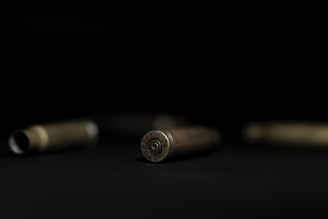 Picture of bullets on a black background