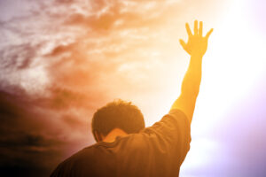 Hands up in worship